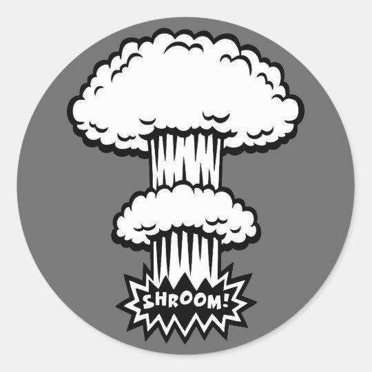 SHROOM! -b/w Classic Round Sticker