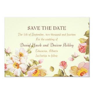 Shrub Roses Cornsilk Save the Date Garden Wedding 3.5x5 Paper Invitation Card