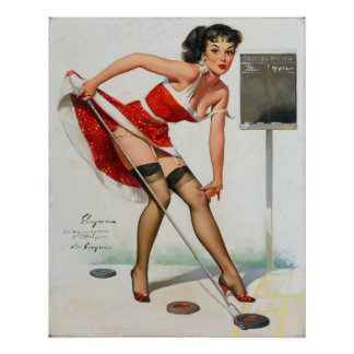 Shuffleboard Pin Up Poster