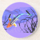 Shusui Koi in Purple Pond with Cattails Coaster