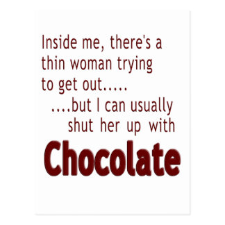 Shut her up with Chocolate Postcard
