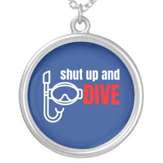Shut up and dive silver plated necklace