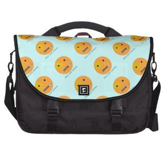 Shut Your Pie hole Smiley Face - Blue Background Laptop Commuter Bag
