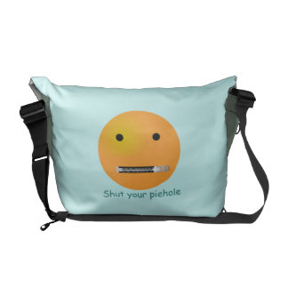Shut Your Pie hole Smiley Face - Blue Background Courier Bags