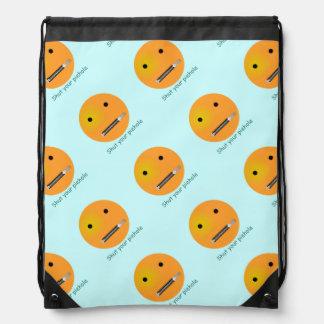 Shut Your Pie hole Smiley Face - Blue Background Cinch Bag
