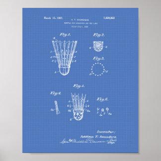 Shuttle For Badminton 1927 Patent Art Blueprint Poster