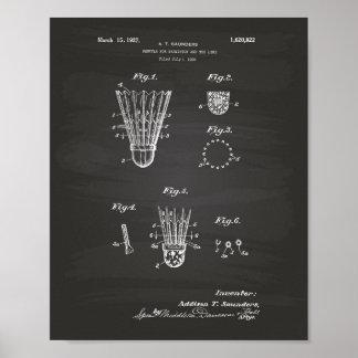 Shuttle For Badminton 1927 Patent Art Chalkboard Poster