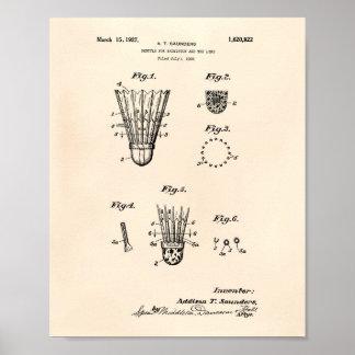 Shuttle For Badminton 1927 Patent Art Old Peper Poster