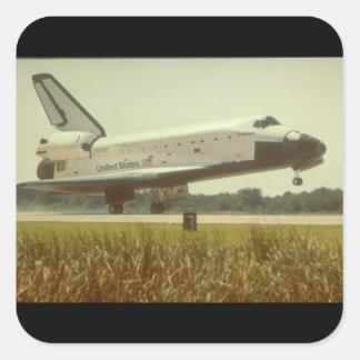 Shuttle landing_Space Square Sticker