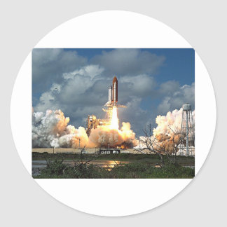 shuttle launch classic round sticker