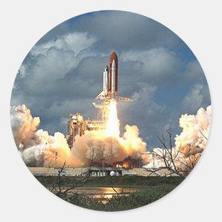 shuttle launch round sticker