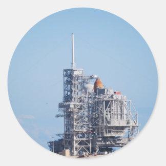 Shuttle on Launch Pad Round Sticker