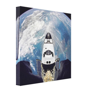 Shuttle Over Earth Gallery Wrapped Canvas