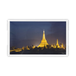 Shwedagon Pagoda At Night Acrylic Tray