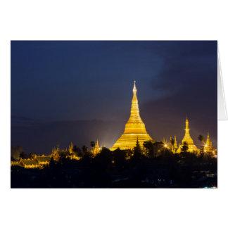 Shwedagon Pagoda At Night Card