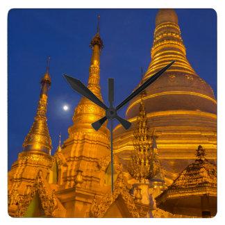 Shwedagon Pagoda at night, Myanmar Clock