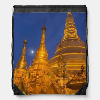 Shwedagon Pagoda at night, Myanmar Drawstring Bag