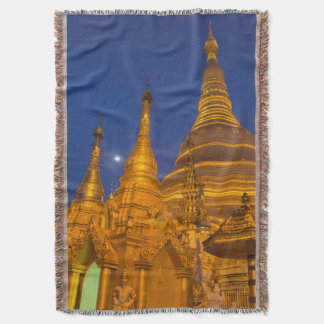 Shwedagon Pagoda at night, Myanmar Throw Blanket