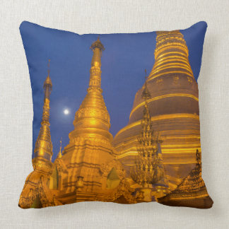 Shwedagon Pagoda at night, Myanmar Throw Pillow