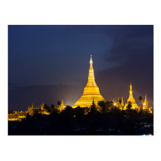 Shwedagon Pagoda At Night Postcard