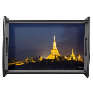Shwedagon Pagoda At Night Serving Tray