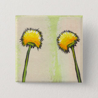 Shy awkward dandelions flower art fun painting 2 inch square button
