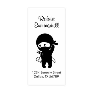 Shy Blushing Ninja Holding Origami Heart Address Rubber Stamp