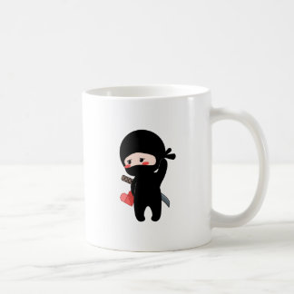 Shy Blushing Ninja Holding Origami Paper Heart Coffee Mug