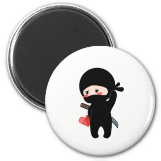 Shy Blushing Ninja Holding Origami Paper Heart Magnet