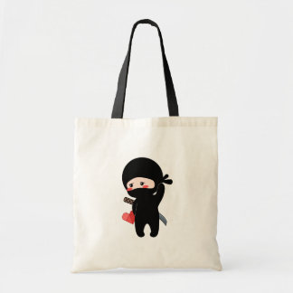 Shy Blushing Ninja Holding Origami Paper Heart Tote Bag