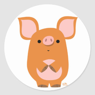 Shy Cartoon Pig round sticker