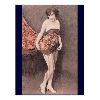 shy girl postcard