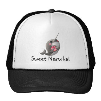 Shy Narwhal with Donut Trucker Hat
