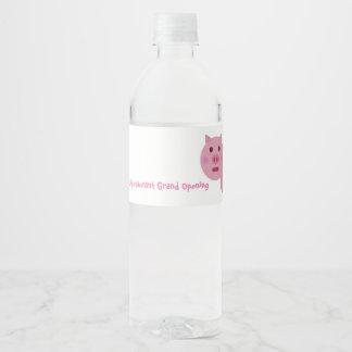 Shy Pink Pig Water Bottle Label