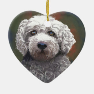 Shyanne Bichon Frise/ King Charles Cavalier Ceramic Heart Ornament