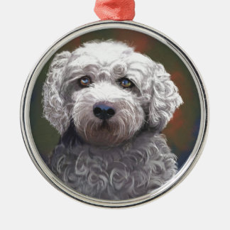 Shyanne Bichon Frise/ King Charles Cavalier Silver-Colored Round Ornament