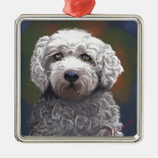 Shyanne Bichon Frise/ King Charles Cavalier Silver-Colored Square Ornament