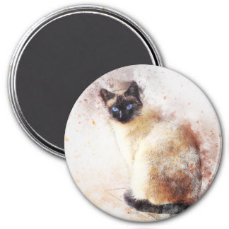 Siamese | Abstract | Watercolor Magnet