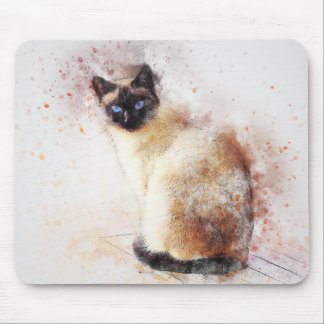 Siamese | Abstract | Watercolor Mouse Pad