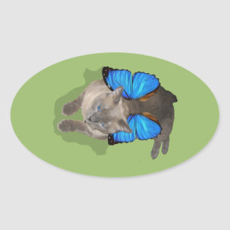 Siamese blue wing cat fairy oval sticker