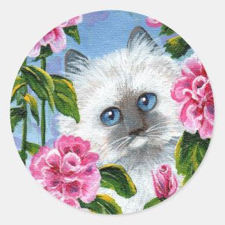 Siamese Burmese Ragdoll Cat Roses Creationarts Classic Round Sticker
