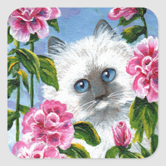 Siamese Burmese Ragdoll Cat Roses Creationarts Square Sticker