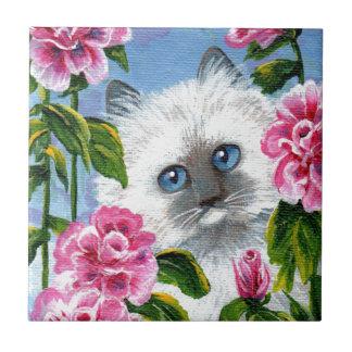 Siamese Burmese Ragdoll Cat Roses Creationarts Tile