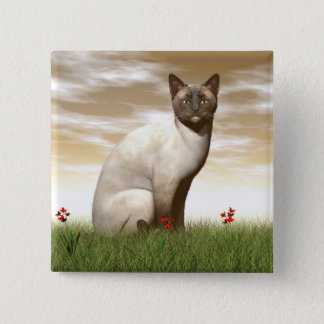 Siamese cat 2 inch square button
