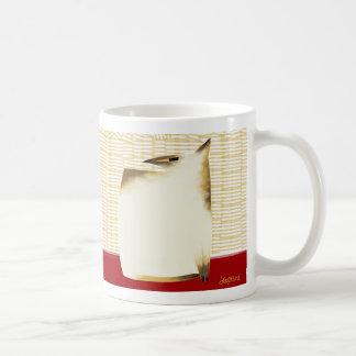 Siamese cat and bamboo basic white mug