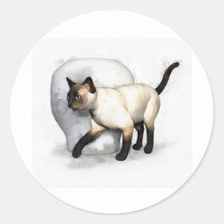 Siamese Cat and Vase Portrait Round Sticker