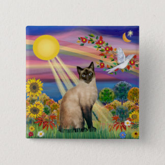Siamese Cat - Autumn Sun 2 Inch Square Button