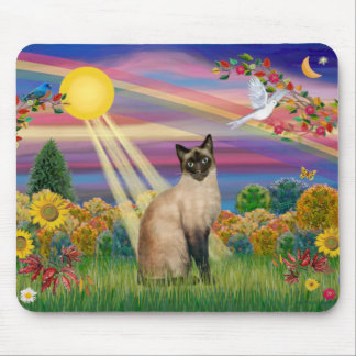 Siamese Cat - Autumn Sun Mouse Pad