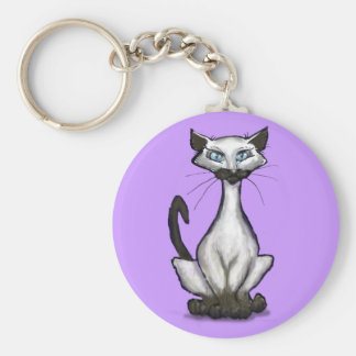 Siamese Cat Basic Round Button Keychain