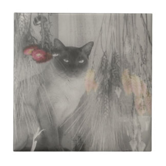 Siamese Cat Black And White Animal Tile